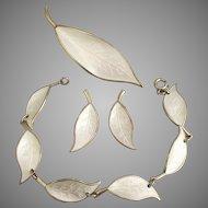 Vintage Signed David Andersen Enamel Sterling Vermeil White Leaves Jewelry Set