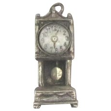Vintage Beau Sterling Mechanical Grandfather Clock Charm with Bubble Glass Face - Red Tag Sale Item