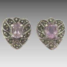 Lovely Sterling Amethyst Heart Pierced Earrings with Marcasite