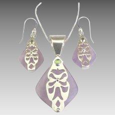 Stunning Sterling Amethyst Peridot Pendant and Pierced Earrings