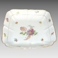 Vintage Meissen Porcelain Serving Bowl with Flowers