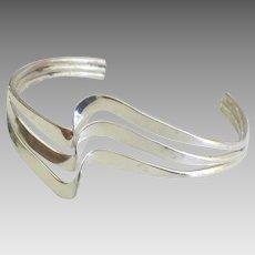 Modernist Sterling Triple Wave Cuff Bracelet