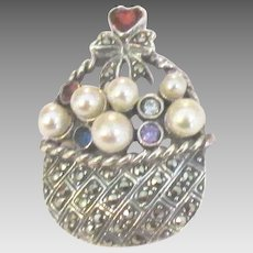 Sweet Sterling Marcasite Basket Pin with Faux Pearls and Crystals
