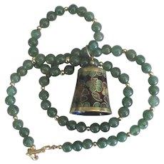 Vintage Floral Cloisonne Bell Mexican Jade Necklace