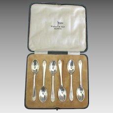 Vintage English Sheffield SP Demitasse Spoons- Set of 6 in Box