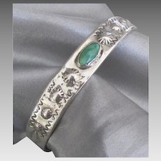 Vintage Navajo Sterling Green Turquoise Cuff Bracelet
