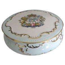 Vintage Royalty Commemorative  English Paragon Porcelain Box- Elizabeth and Philip 1959