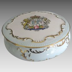 Vintage Royalty Commemorative  English Paragon Porcelain Box- Elizabeth and Philip 1959