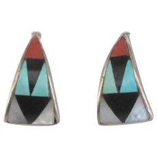 Vintage Signed Zuni Sterling Inlaid Pierced Earrings