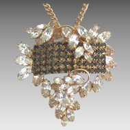 Stunning Vintage Hobe Rhinestone Brooch or Pendant