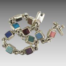 Vintage Taxco Inlaid Mineral Sterling Link Bracelet
