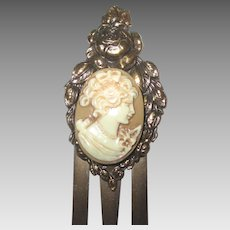 Vintage Ornate Brass with Cameo Book Mark