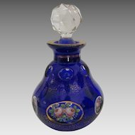 Exquisite Moser Hand Painted Crystal Scent or Perfume Bottle