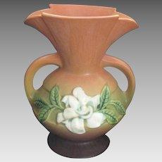 Vintage 1940's Roseville Gardenia Handled Vase