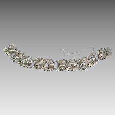 Vintage 1940's Sterling Leaves and Swirls Bracelet by Viking Craft