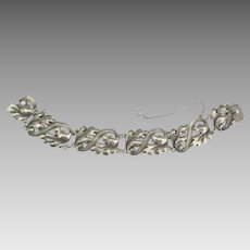 Vintage 1940's Sterling Leaves and Swirls Bracelet by Viking Craft