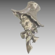 Charming Vintage Lang Sterling Lady in Bonnet Brooch