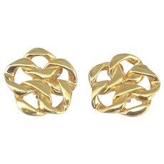 Stunning Bold Signed St. John Gold Tone Earrings