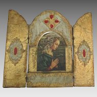 Lovely Vintage Italian St. Mary Wooden Gilt Triptych