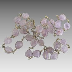 Vintage Caged Polished Amethyst Necklace and Bracelet Set