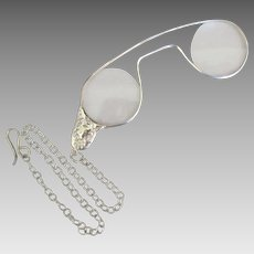 Vintage Sterling Lorgnette with Chain and Hook