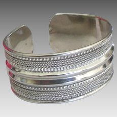 Vintage Rope Textured Sterling Silver Cuff Bracelet