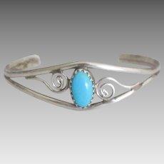 Vintage Navajo Sterling Baby Cuff Bracelet
