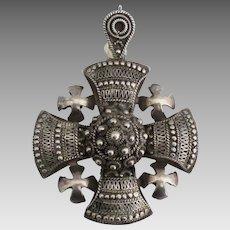 Large Ornate Vintage 900 Silver Jerusalem Cross