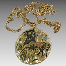 Ornate Large Reversible Closionne Horse and Flowers Pendant Necklace
