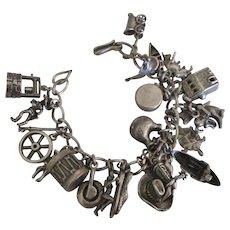Loaded Western Theme Sterling Charm Bracelet