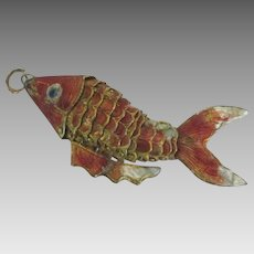 Large Vintage Enamel Articulated Fish Pendant