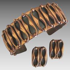 Vintage Signed Renoir Copper Bracelet and Earrings Demi Parure