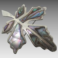 Vintage Taxco Sterling Abalone Shell Oak Leaf Brooch