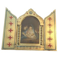 Vintage Italian St. Mary and Jesus Religious Triptych,,