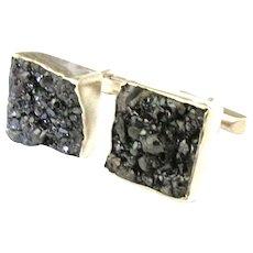 Vintage Artistic Sterling Mineral Geode Cuff Links - Red Tag Sale Item