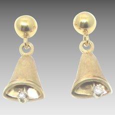 Charming 14K Diamond Bell Pierced Earrings