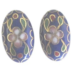 Vintage Blue Cloisonne Floral Pierced Earrings