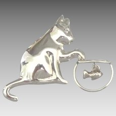 Charming Vintage Sterling Diamond Cat and Fish Bowl Brooch