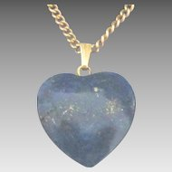 Pretty Vintage Lapis Heart Pendant with 18 Inch GF Chain