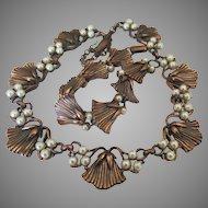 Vintage Copper Tone Faux Pearl Blossom Link Necklace and Bracelet- Demi Parure