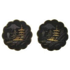 Vintage Japanese Damascene Earrings Signed Amita