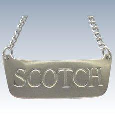 """Vintage Sterling """"Scotch"""" Decanter or Bottle Tag"""