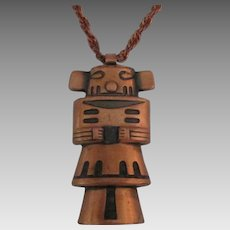 Vintage Bell CopperLarge Kachina Totem Pendant with Chain