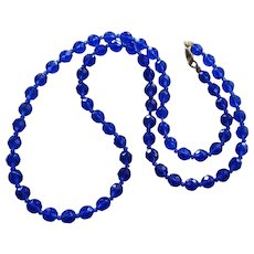 Gorgeous Cobalt Blue Faceted Crystal Bead Necklace- 28 Inches