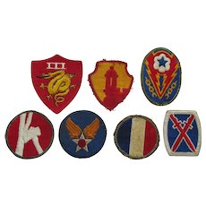World War II Era Military Patches- Set of 7