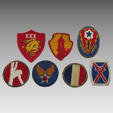 World War II Era Military Patches- Set of 7