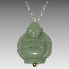"Vintage Carved Jade Buddha with 18"" Gold Filled Chain"