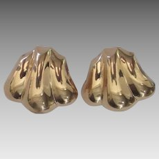 Spectacular Large 14K Omega Pierced Earrings