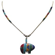 Vintage Zuni Sterling Inlaid Bear Fetish Necklace