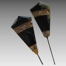 Art Deco Black Crystal Stick Pins- Set of 2